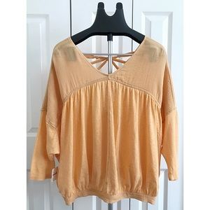 FREE PEOPLE Sz M Peach Cotton Linen Blouse